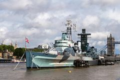HMS Belfast. River Thames Tourist Attractions - Tower of London, HMS Belfast, Tower Bridge Stock Image