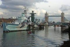 HMS Belfast. Docked in London's harbor Royalty Free Stock Photo