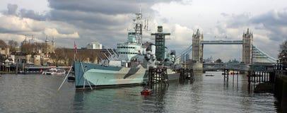 HMS Belfast. Docked in London's harbor royalty free stock image