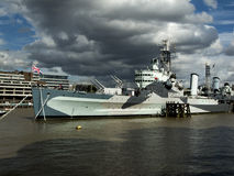 HMS Belfast. ,Times River London Royalty Free Stock Images