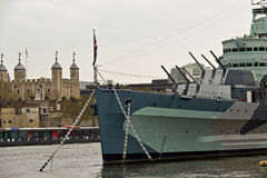 Free HMS Belfast (C35) A Royal Navy Light Cruiser On The River Thames Stock Image - 61761601