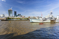 HMS Belfast and the City of London Royalty Free Stock Photo