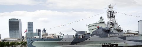Hms belfast docked at the city of london Royalty Free Stock Images