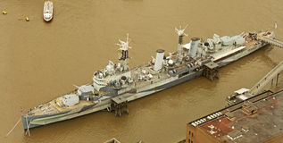 HMS Belfast From The Shard Royalty Free Stock Photos