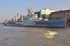 HMS Belfast at her London berth Stock Photos