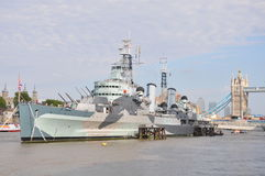 HMS Belfast i London Royaltyfri Foto
