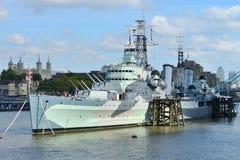 HMS Belfast i London Fotografering för Bildbyråer