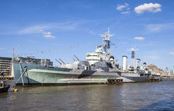 HMS Belfast i London Royaltyfri Bild