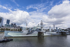 HMS Belfast light cruiser battle ship at London Stock Photo