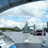 HMS Belfast in Londen op 30 Juli, 2017 Stock Afbeelding
