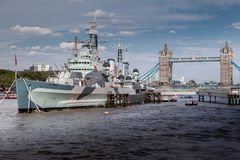 HMS Belfast London Arkivbild