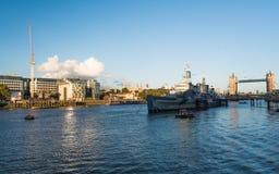 HMS Belfast London Royaltyfri Bild