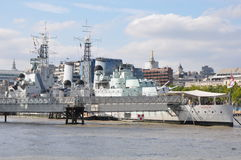 HMS Belfast in London Stock Image