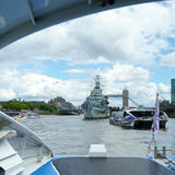 HMS Belfast in London am 30. Juli 2017 stockbild