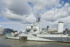 HMS Belfast at London Royalty Free Stock Photo