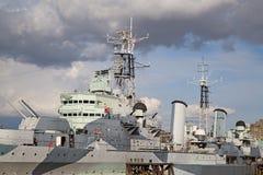 HMS Belfast. London, HMS Belfast on the pier stock image