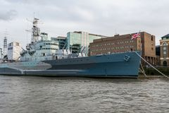 HMS Belfast in London at the Tower Bridge. HMS Belfast in London at Tower Bridge Royalty Free Stock Images