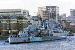 HMS Belfast, London, UK Arkivfoto