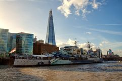 HMS Belfast in London Stock Images