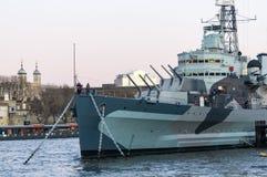 HMS Belfast Londra Fotografia Stock Libera da Diritti