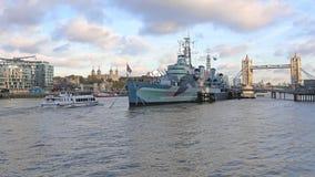 HMS Belfast Londyn Zdjęcie Royalty Free
