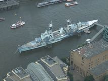 HMS Belfast, moored on the River Thames royalty free stock photos