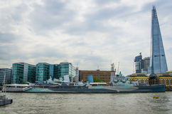 HMS Belfast museum ship and the shard in London, England Royalty Free Stock Images