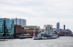 HMS Belfast museum on Thames river Stock Photos