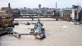 HMS Belfast museum on Thames river Stock Images