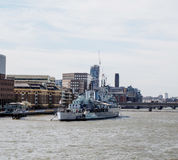 HMS Belfast museum on Thames river Royalty Free Stock Photo