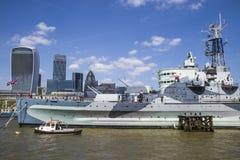 HMS Belfast na Rzecznym Thames w Londyn Fotografia Royalty Free