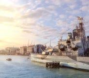 HMS Belfast na Rzecznym Thames w Londyn Obrazy Royalty Free
