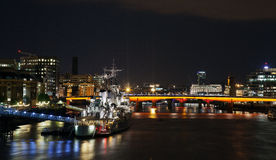 HMS Belfast at night Royalty Free Stock Photo