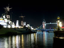 HMS Belfast at night Stock Image