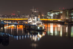HMS Belfast at night Royalty Free Stock Photos