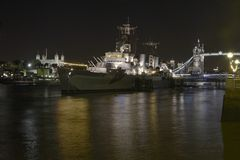 HMS Belfast at night. London. England Stock Images