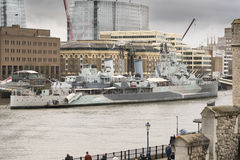 HMS Belfast on the River Thames. From inside the Tower of London Stock Photography