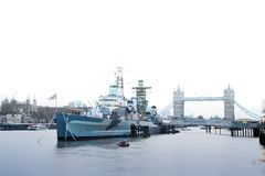 Hms belfast battleship river thames london uk Royalty Free Stock Photo
