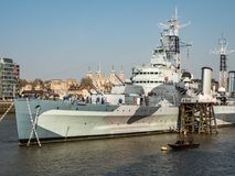 HMS Belfast, River Thames, London Stock Photography