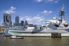 HMS Belfast on the River Thames in London Royalty Free Stock Photography