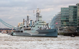 HMS Belfast. Royal Navy light cruise Royalty Free Stock Image