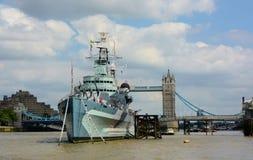 HMS Belfast spławowy muzeum Obrazy Stock