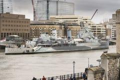 HMS Belfast sul Tamigi Fotografia Stock