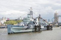 HMS Belfast on Thames Royalty Free Stock Image