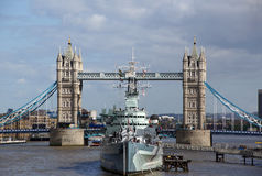 HMS Belfast and Tower Bridge Stock Photos