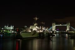 HMS Belfast, Tower Bridge and Tower of London, UK Stock Photos