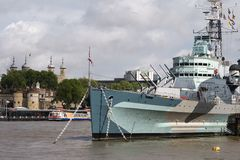 HMS Belfast & Tower of London Stock Images