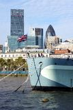 HMS Belfast, Union Jack, City of London Skyscrapers Stock Photography