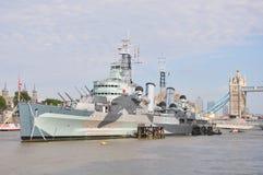 HMS Belfast w Londyn Zdjęcie Royalty Free