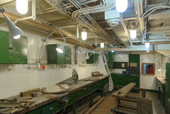 HMS Belfast wnętrze Obrazy Royalty Free